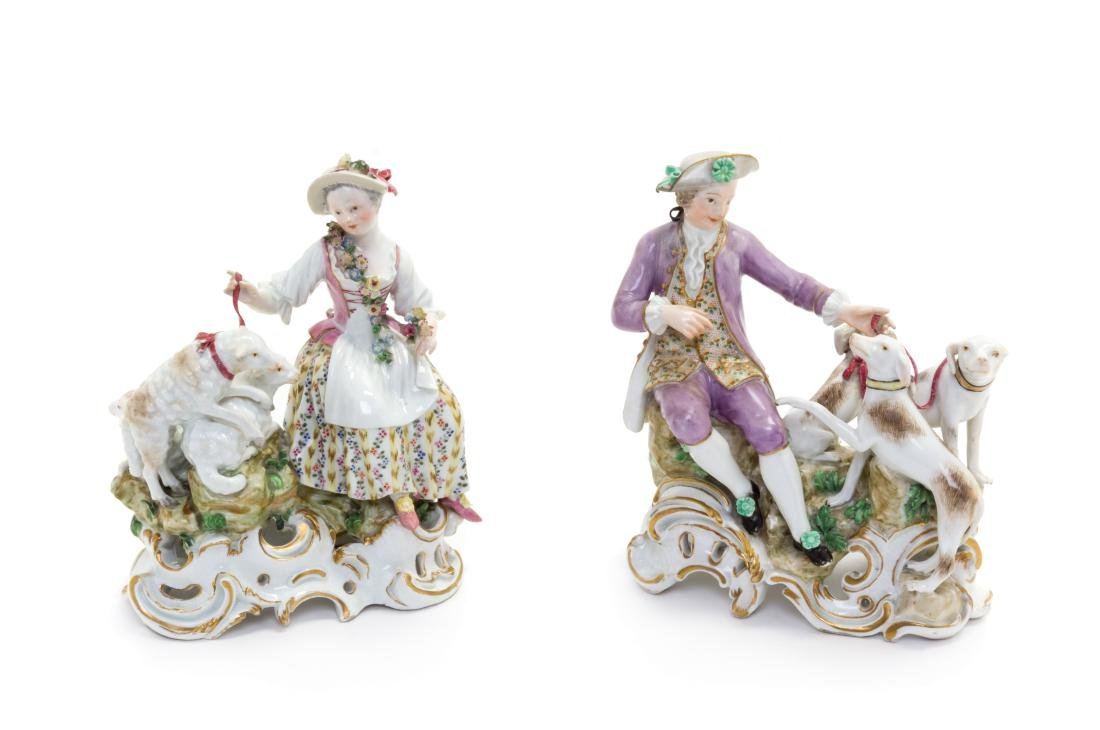 * A Pair of Meissen Porcelain Figural Groups