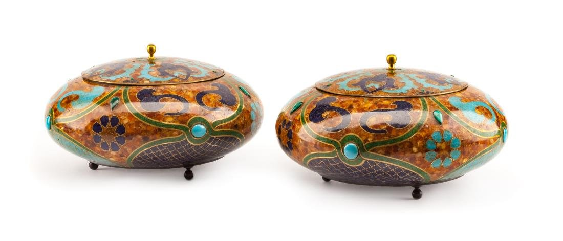 A Pair of Russian or Baltic Lapis, Turquoise, Amber