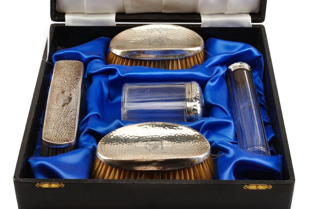 An Edwardian Silver Mounted Five-Piece Dresser Set, H. - 3