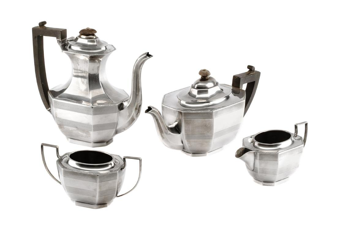 An English Silver Four-Piece Tea and Coffee Service,