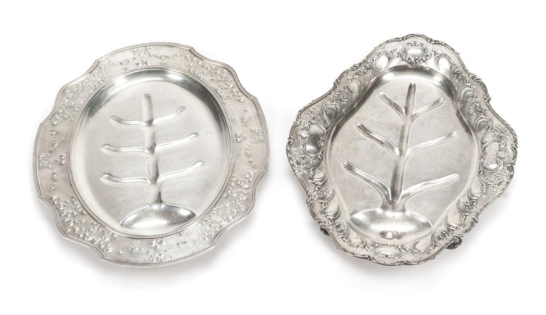 Two American Silver Well-and-Tree Platters, Gorham Mfg.