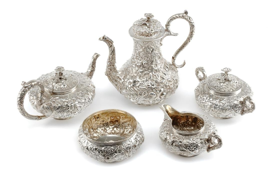 An American Silver Five-Piece Tea and Coffee Service,