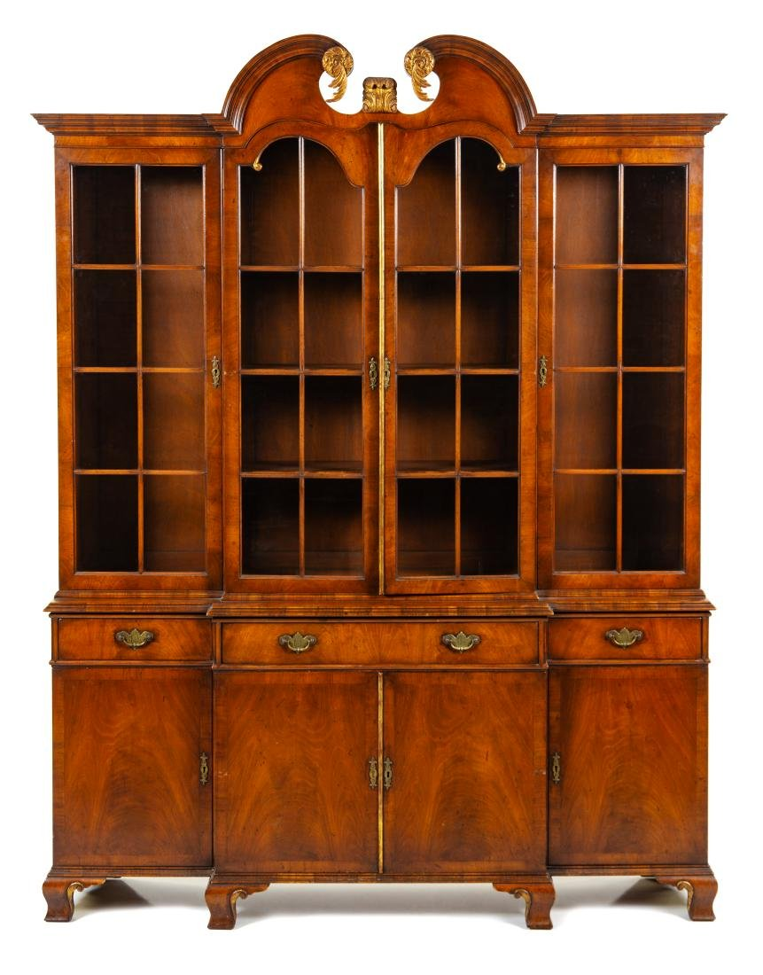 * A George III Mahogany Breakfront Bookcase Height 89 x