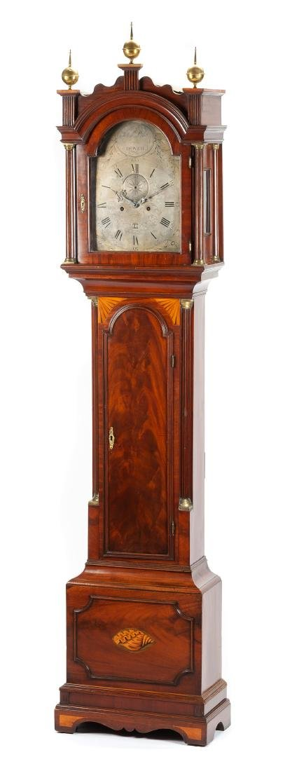 An English Mahogany Tall Case Clock Height 90 x width
