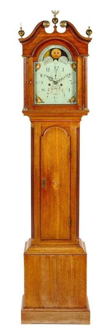 A George III Oak Tall Case Clock Height 88 1/2 inches