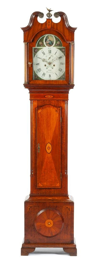 An English Inlaid Oak Tall Case Clock Height 89 x width