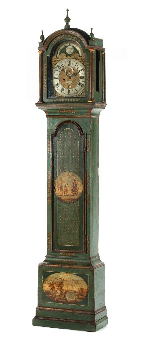 An English Painted Tall Case Clock Height 92 1/2 x