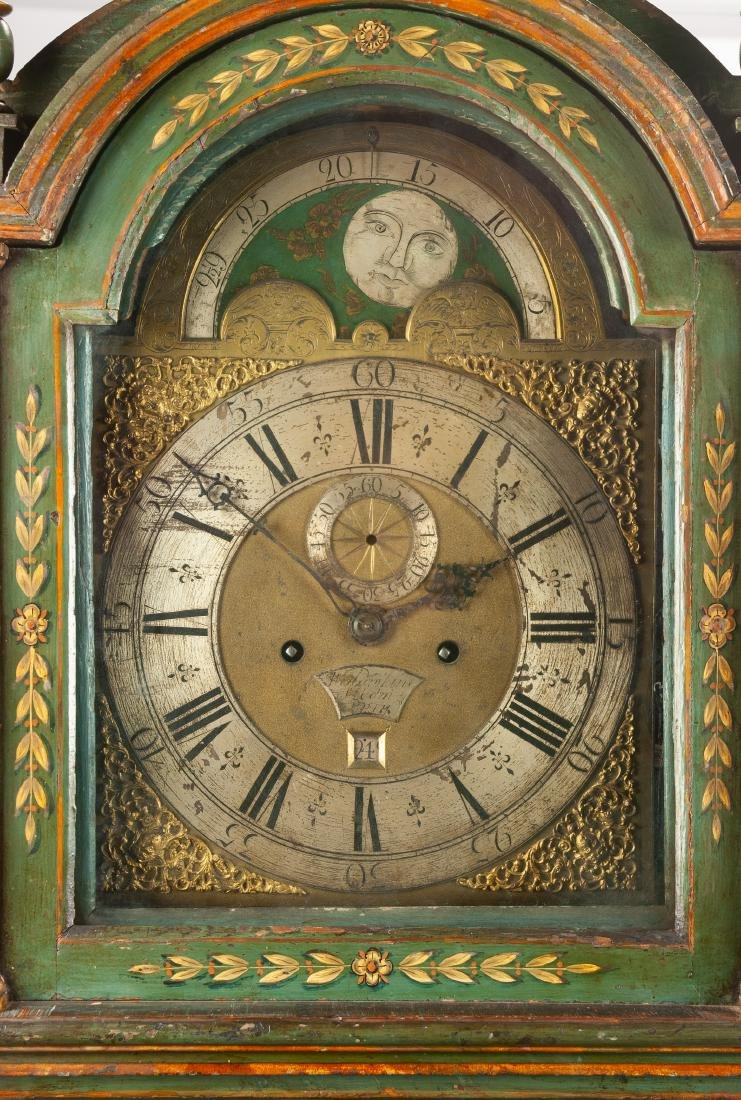 An English Painted Tall Case Clock Height 92 1/2 x - 2