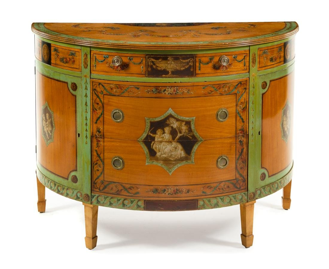 A George III Style Painted Satinwood Cabinet Height 36