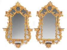 A Pair of Chippendale Style Carved Giltwood Mirrors