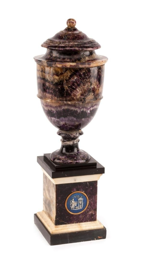An English Blue John Urn Height 14 inches.