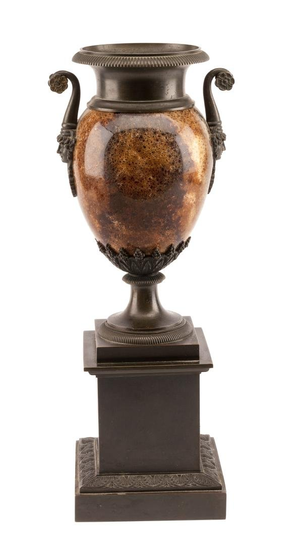 An English Bronze Mounted Blue John Urn Height 15 1/2