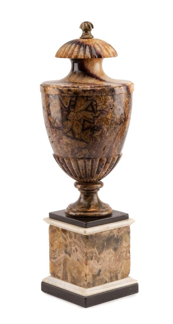 An English Blue John Urn Height 20 1/4 inches.