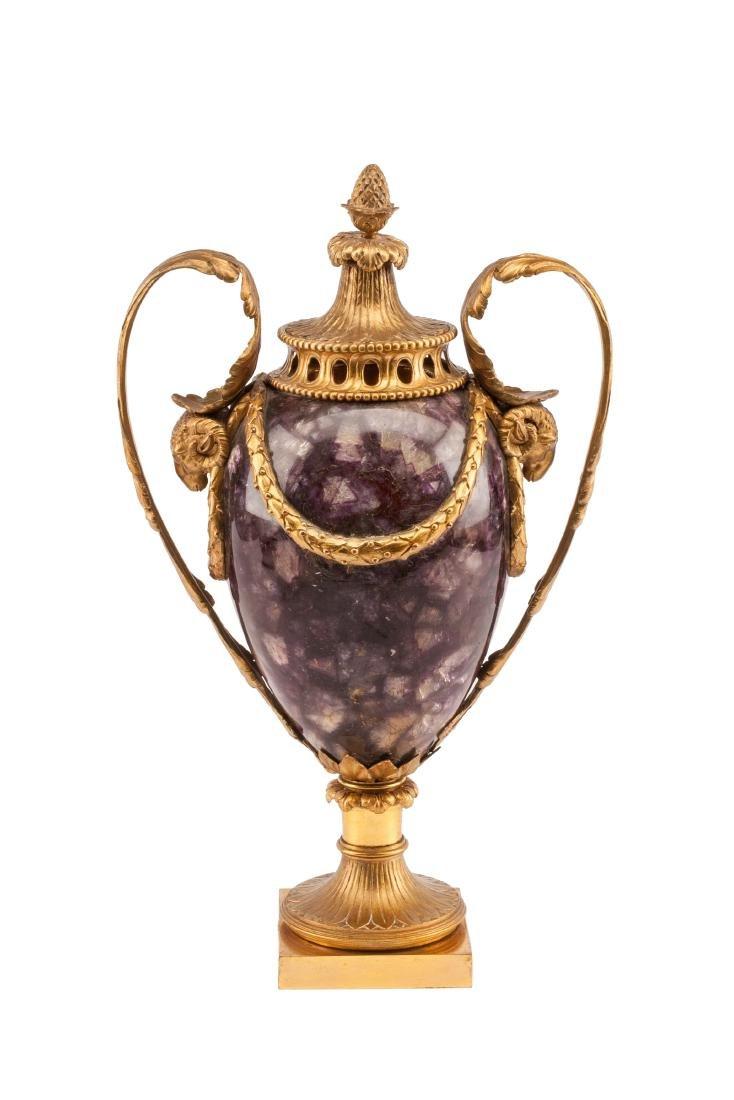 An English Gilt Bronze Mounted Blue John Urn Height 15
