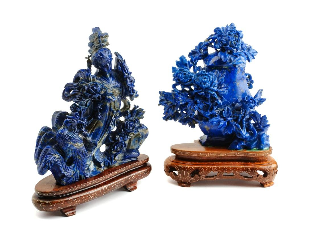 Two Chinese Carved Lapis Lazuli Articles Height of
