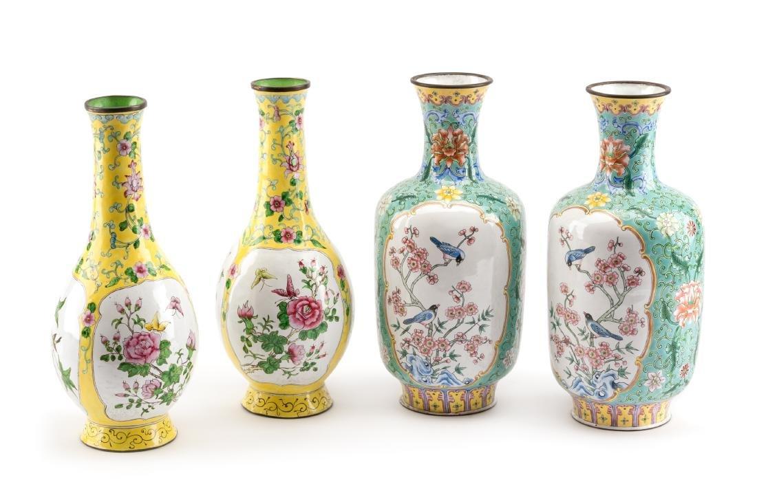 Two Pairs of Chinese Peking Enameled Vases