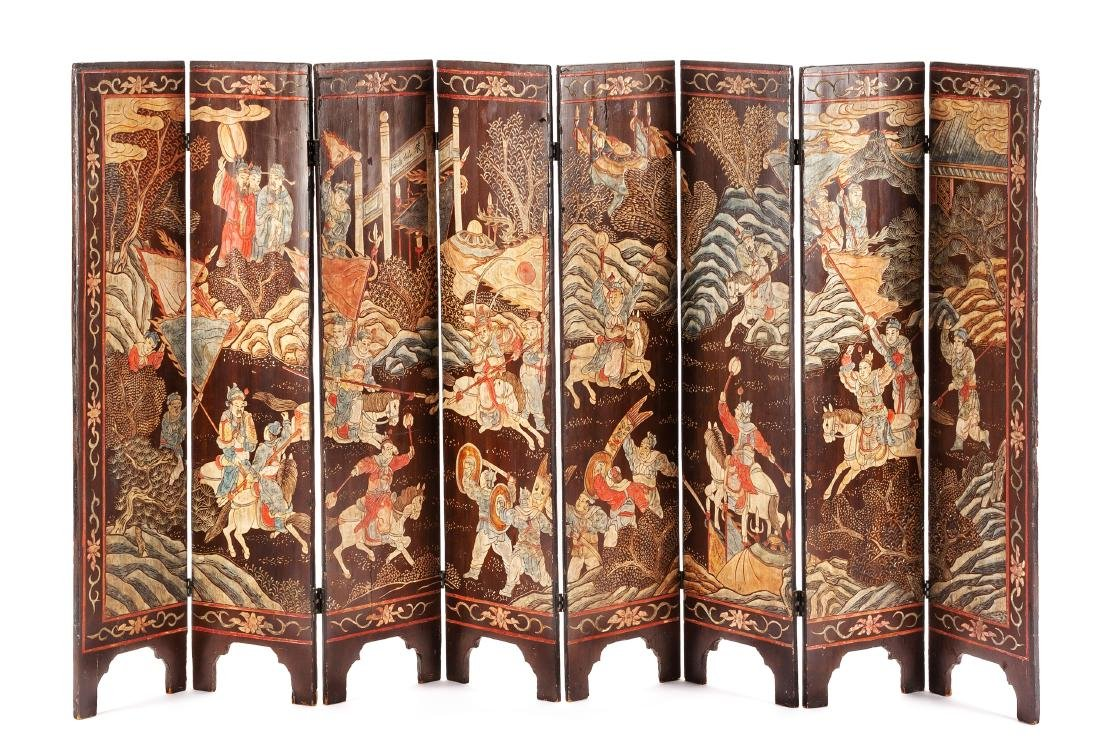 A Chinese Coromandel Eight-Panel Floor Screen Height 43