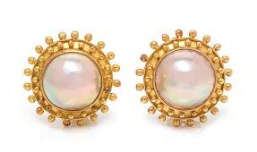 A Pair of 18 Karat Yellow Gold and Cultured Mabe Pearl