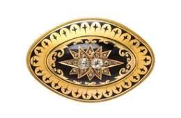 A Victorian 15 Karat Yellow Gold Diamond and Enamel