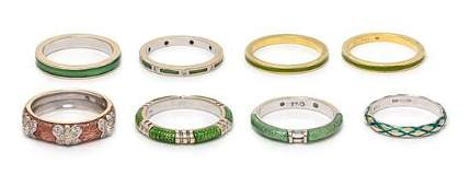 A Collection of 18 Karat Gold and Enamel Stacking