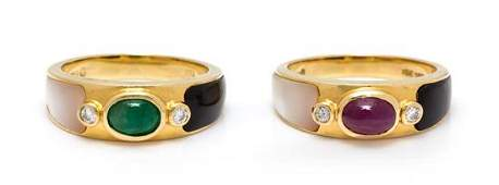 A Pair of 18 Karat Yellow Gold, Multigem and Diamond