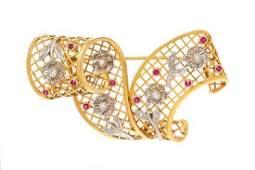 A Vintage 18 Karat Yellow Gold, Platinum, Diamond and