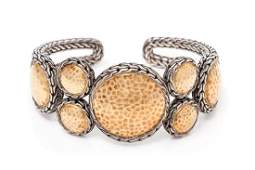 A Sterling Silver and 22 Karat Gold Palu Flex Cuff