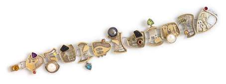 A Sterling Silver, Yellow Gold and Multigem Bracelet,