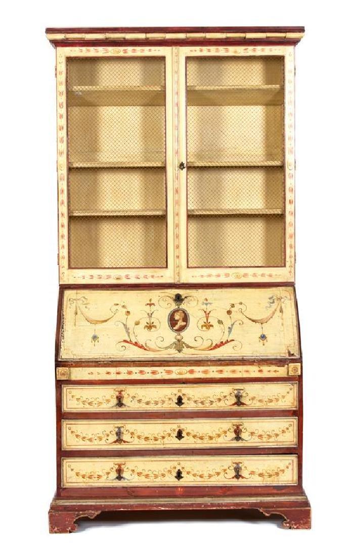 A Venetian Style Painted Secretary Desk Height 90 1/2 x