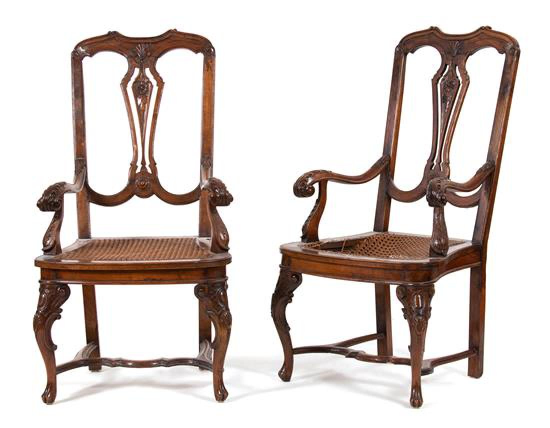 A Pair of Italian Carved Walnut Open Armchairs Height