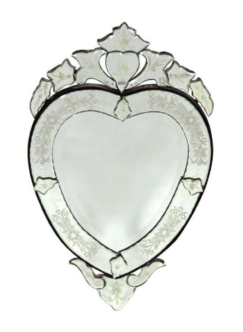 A Venetian Glass Heart-Shaped Mirror Height 31 1/4 x