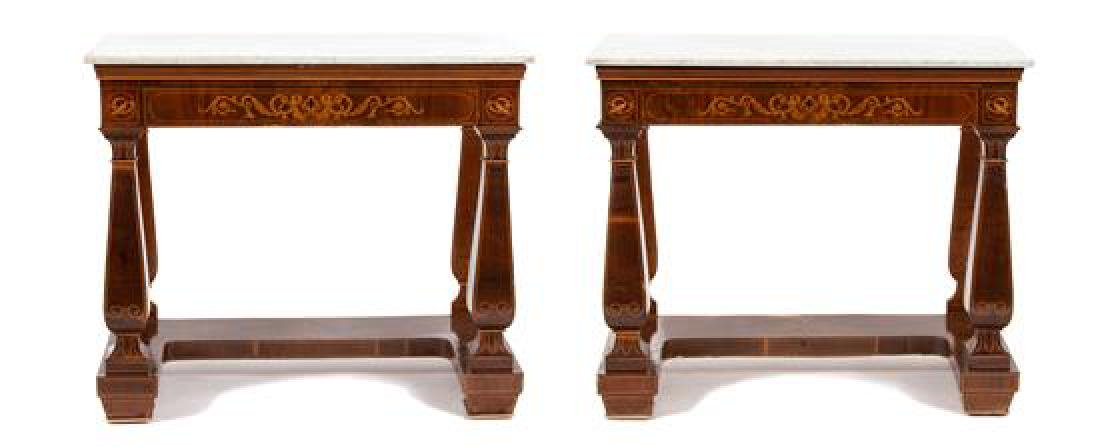 A Pair of Neoclassical Marquetry Satinwood Marble Top