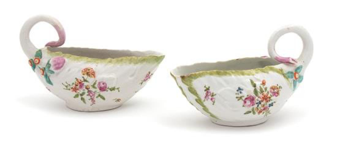 Two Derby Porcelain Sauce Boats Length 6 3/4 inches.