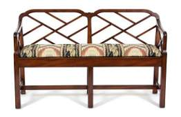 A Chinese Chippendale Style Mahogany Bench Height 30