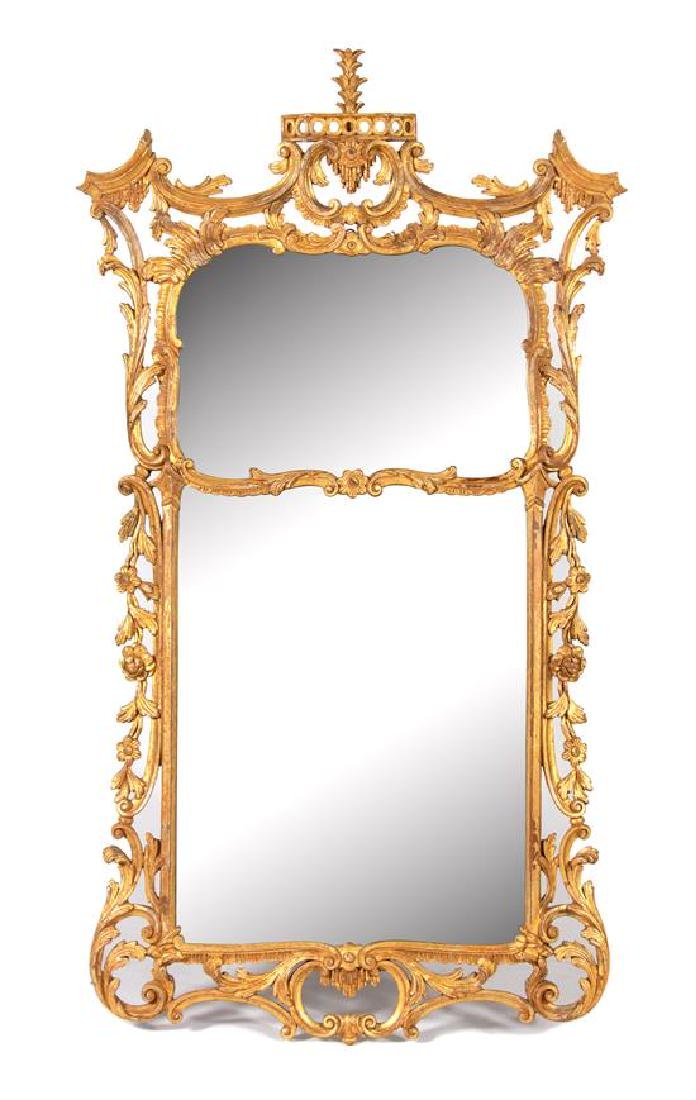 A George II Style Carved Giltwood Wall Mirror Height 65