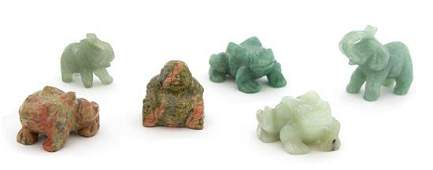 A Collection of Six Chinese Carved Jade and Hardstone