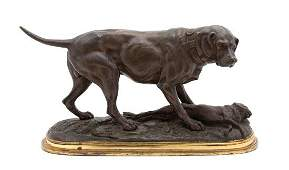 A French Bronze Group Length 13 1/2 inches.