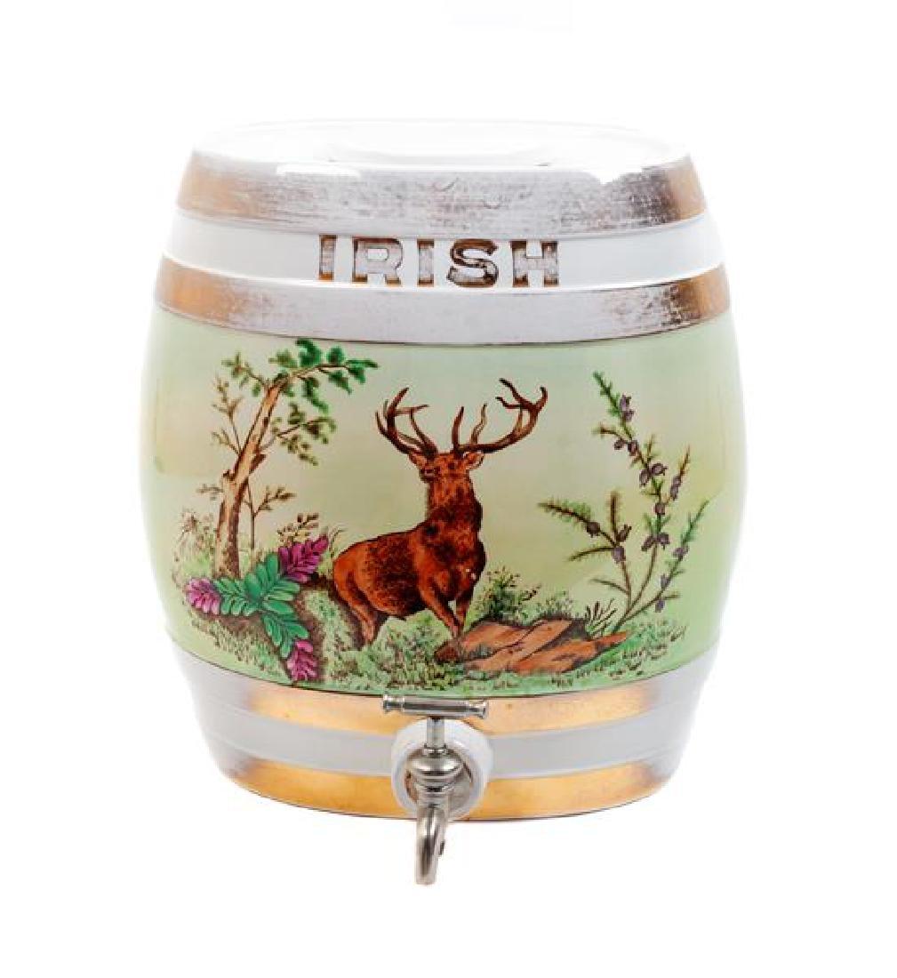 Painted Porcelain Irish Whiskey Keg Height 13 x width