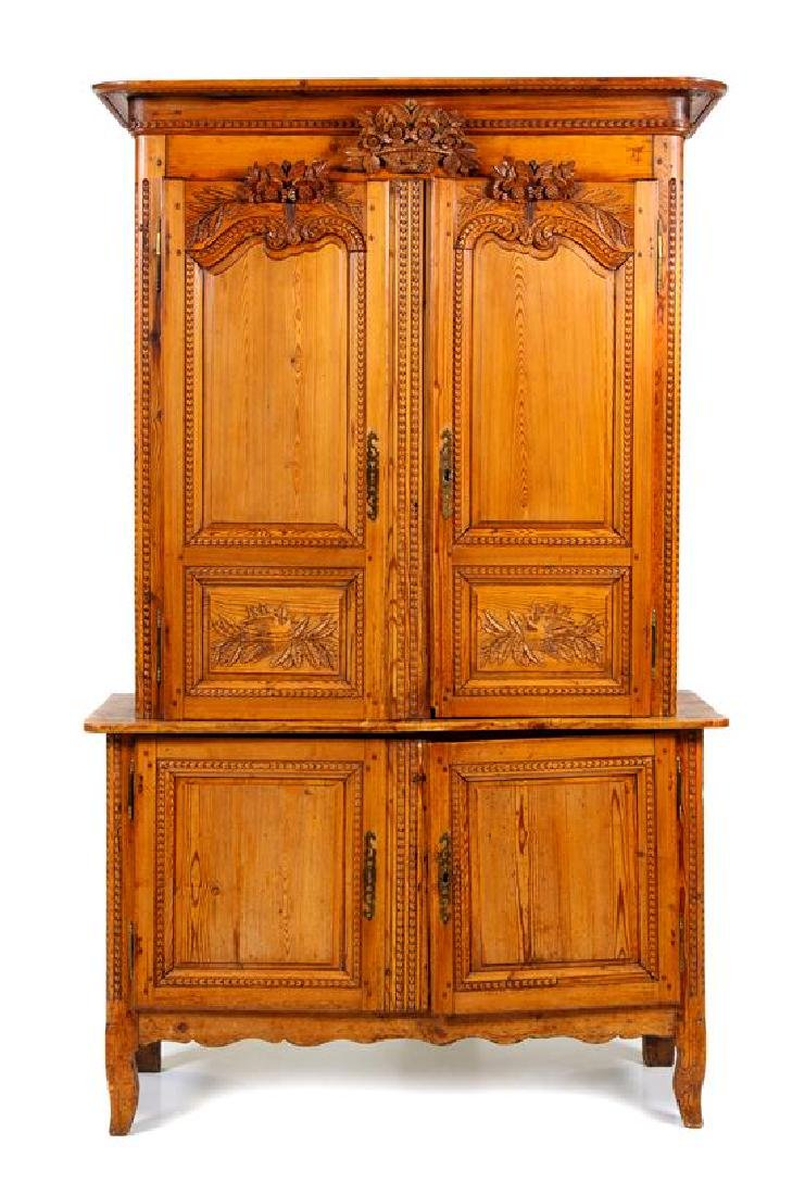A French Provincial Fruitwood Cabinet Height 87 x width