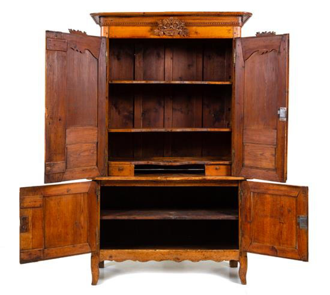A French Provincial Fruitwood Cabinet Height 87 x width - 2