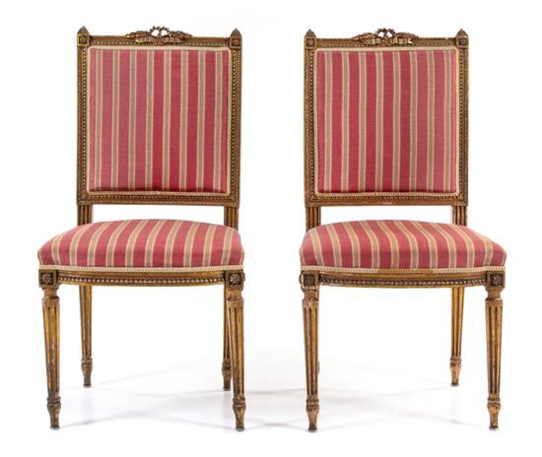 * A Pair of Louis XVI Style Giltwood Side Chairs Height