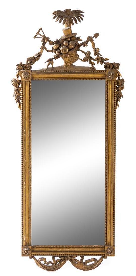 A Louis XVI Style Giltwood Mirror Heigh 55 x width 23