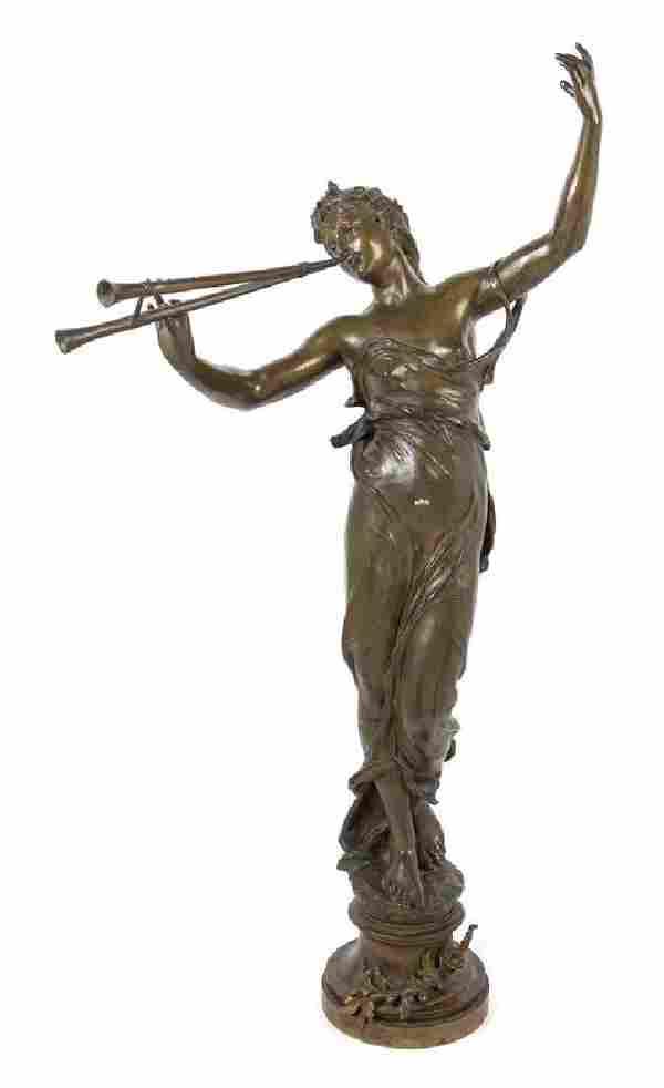 Eugene Marioton, (French, 1853-1933), Femme jouant de