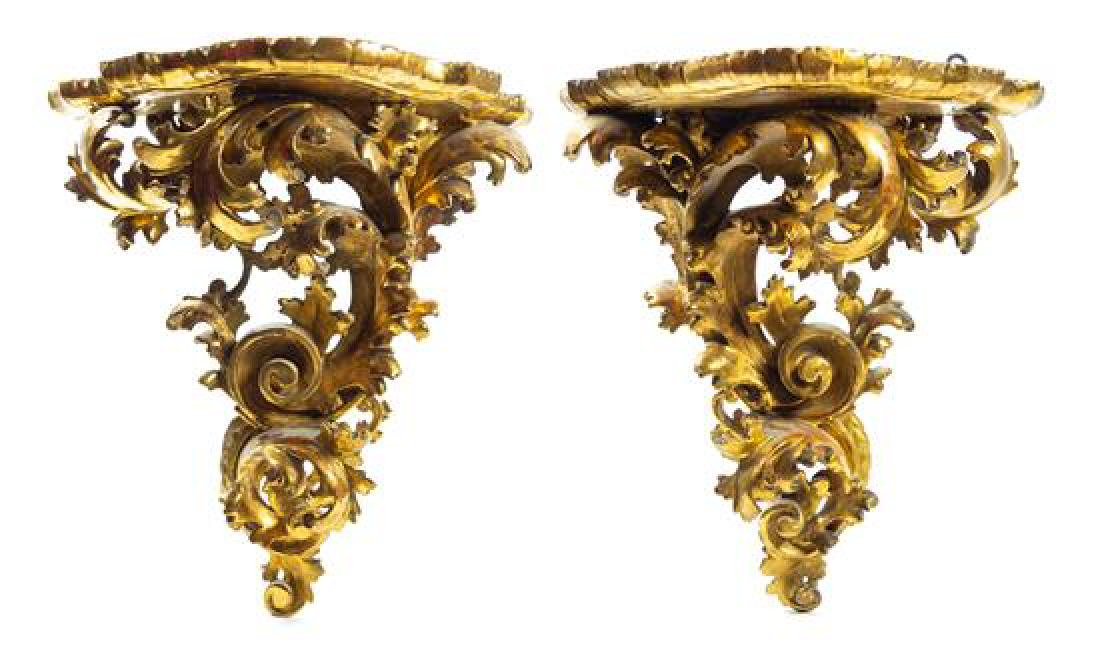 A Pair of Large Italian Giltwood Wall Brackets Height