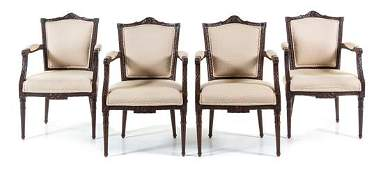 A Set of Four Dutch Mahogany Armchairs Height 37 12