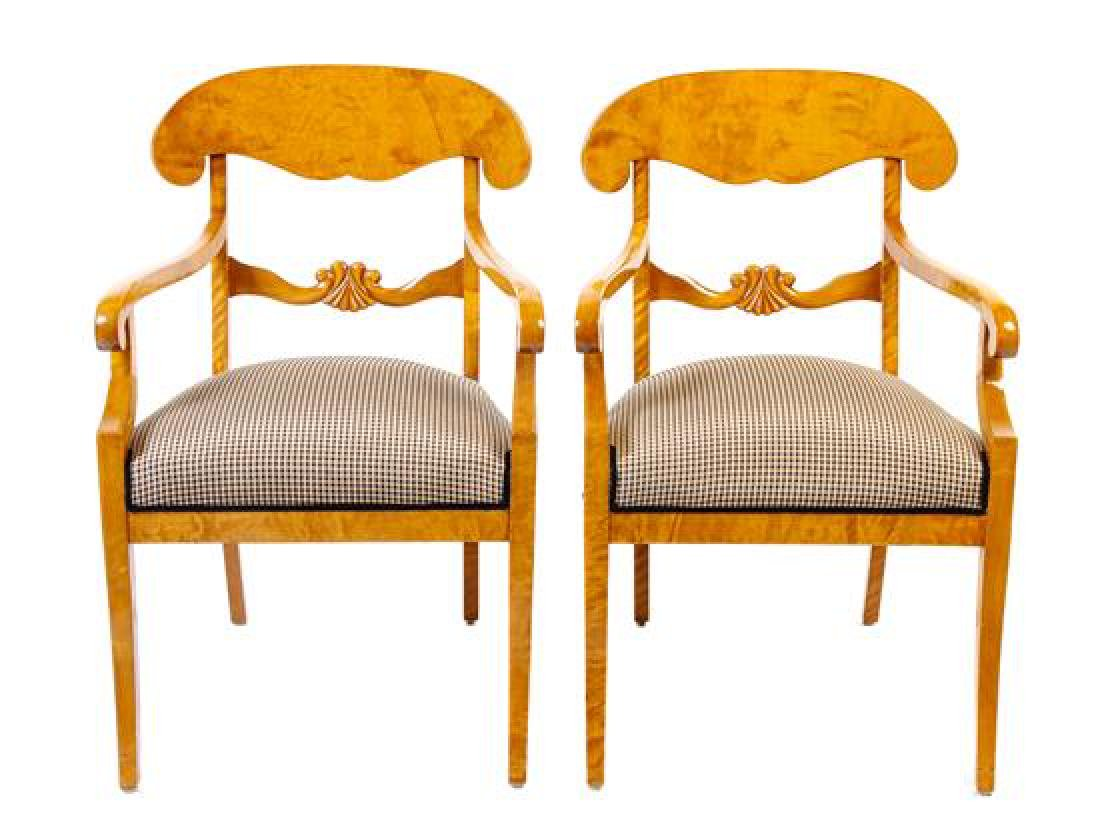 A Pair of Biedermeier Style Burlwood Armchairs Height