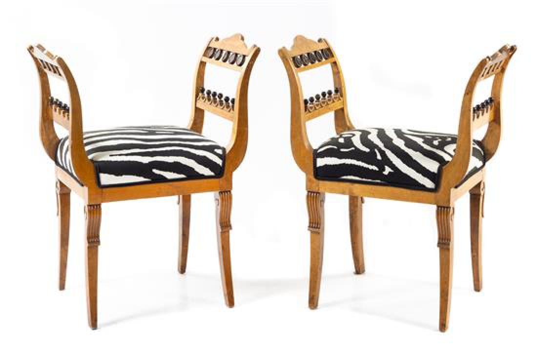 A Pair of Biedermeier Style Benches Height 31 x width