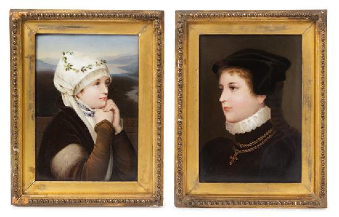 A Pair of German Porcelain Plaques Height of porcelain