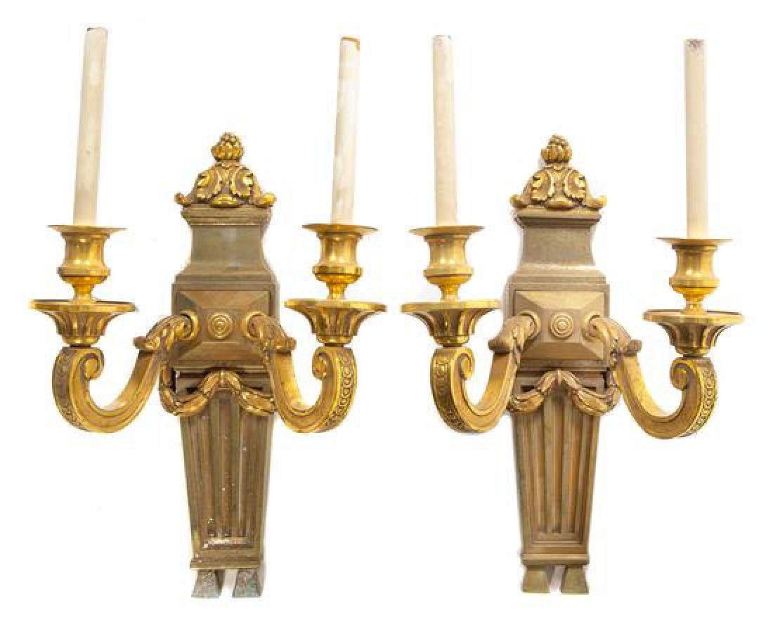 A Pair of Neoclassical Style Gilt Bronze Two-Light