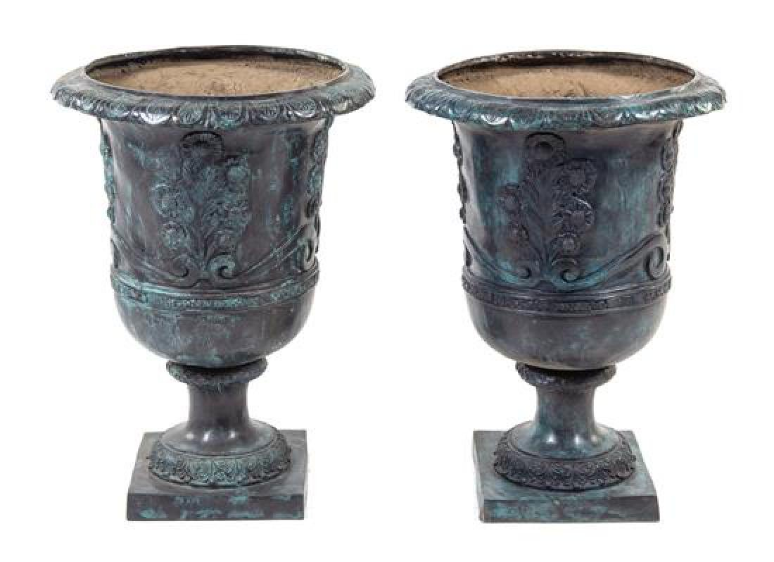 A Pair of Neoclassical Style Painted Cast Iron Planters